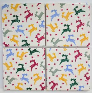 4 Ceramic Coasters in Emma Bridgewater Christmas Polka Reindeer